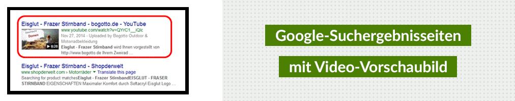 Google-Suchergebnisseiten mit Video-Vorschaubild