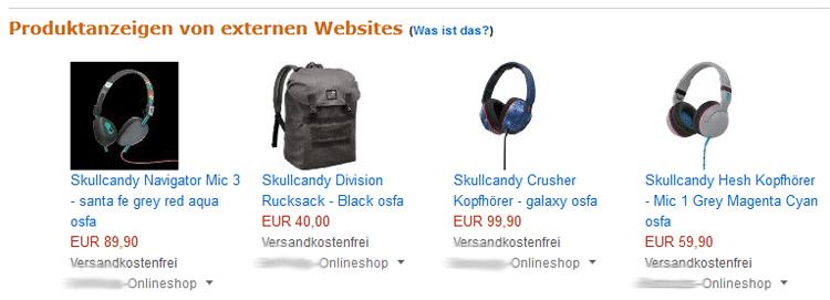 Amazon Product Ads auf Suchergebnis