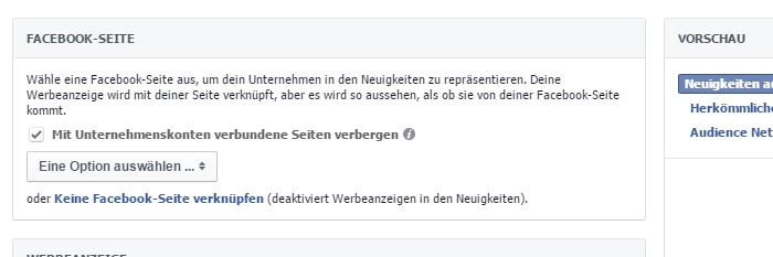 Facebook Seite verknüpfen